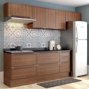 Cozinha Completa 8 Módulos 8 Portas Calábria Multimóveis Nogueira