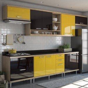 Cozinha Completa 8 Peças Sicília S1T Multimóveis Argila/Amarelo/Preto