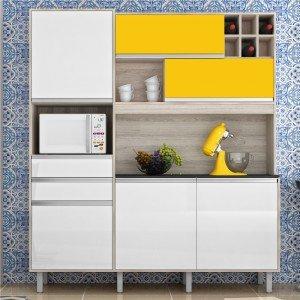 Cozinha Compacta 6 Portas 2 Gavetas Loft Nesher Móveis Branco/Amarelo
