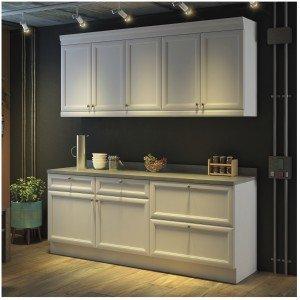 Cozinha Americana Compacta com Balcão e Tampo 4 Peças Nesher Móveis Branco