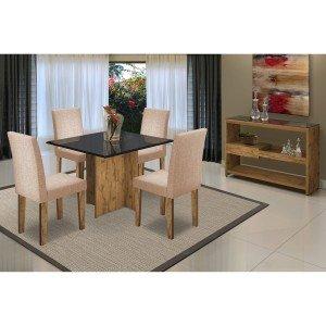 Sala de Jantar com Mesa Tampo MDF/Vidro 4 Cadeiras 1 Aparador Mariana/Giovana/Vanessa New Ceval Móveis Álamo/Preto/TL11