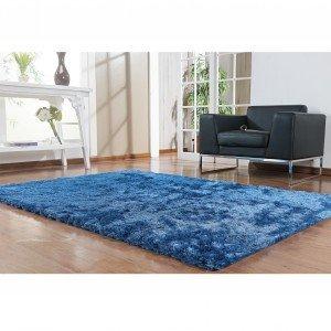 Tapete Clássico Liso Silk Shaggy Niazitex 1,00m x 1,40m Azul