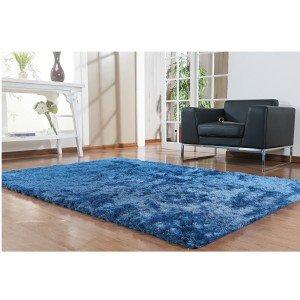 Tapete Clássico Liso Silk Shaggy Niazitex 2,00m x 2,50m Azul