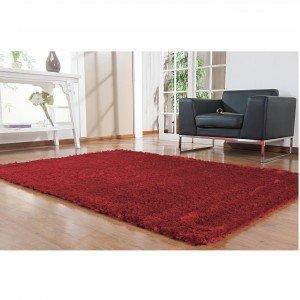 Tapete Clássico Liso Silk Shaggy Niazitex 1,00m x 1,40m Vermelho