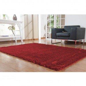 Tapete Clássico Liso Silk Shaggy Niazitex 2,00m x 2,50m Vermelho