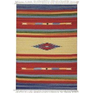 Tapete Indiano Retangular Algodão Listrado D4 Kilim Niazitex 1,40mx2,00m Colorido