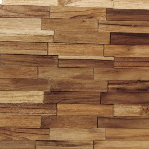 Revestimento de Madeira Wood Line Rústico Filete Lascado 30cmx30cm Teca