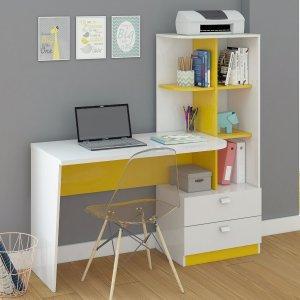 Escrivaninha com Estante Elisa Permobili Branco/Amarelo