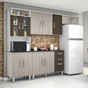 Cozinha Compacta com Balcão e Tampo 4 Peças Suíça Poliman Móveis Branco/Rovere/Amêndoa