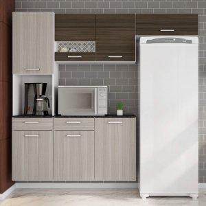 Cozinha Compacta Suspensa em L Balcão com Tampo 3 Peças 7 Portas Ana Poliman Móveis Branco/Rovere/Amêndoa