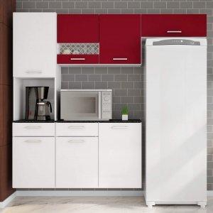 Cozinha Compacta Suspensa em L Balcão com Tampo 3 Peças 7 Portas Ana Poliman Móveis Branco/Marsala