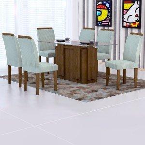 Conjunto Sala de Jantar Mesa Tampo Vidro 160cm Amsterdã 6 Cadeiras Athenas Rufato Ypê/Matelassê