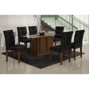 Conjunto Sala de Jantar Mesa Tampo Vidro 160cm Amsterdã 6 Cadeiras Paraty Rufato Ypê/Penna Preto