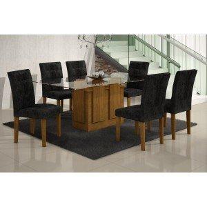 Conjunto Sala de Jantar Mesa Tampo Vidro 180cm Amsterdã 6 Cadeiras Paraty Rufato Imbuia/ Penna Preto