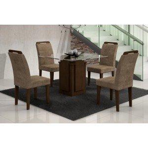Conjunto Sala de Jantar Mesa Tampo Vidro Amsterdã 4 Cadeiras Athenas Amsterdã/Athenas Rufato Castor/Animalle Chocolate