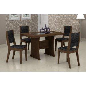 Conjunto Sala de Jantar Mesa Tampo Vidro/MDF 120cm Viva 4 Cadeiras Ísis Rufato Castor/ Penna Preto
