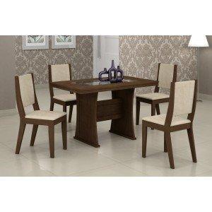 Conjunto Sala de Jantar Mesa Tampo Vidro/MDF 120cm Viva 4 Cadeiras Ísis Rufato Castor/Veludo Creme