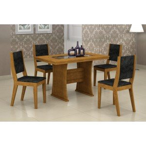 Conjunto Sala de Jantar Mesa Tampo Vidro/MDF 120cm Viva 4 Cadeiras Ísis Rufato Imbuia/ Penna Preto