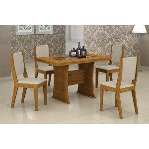 Conjunto Sala de Jantar Mesa Tampo Vidro/MDF 120cm Viva 4 Cadeiras Ísis Rufato Imbuia/Veludo Creme