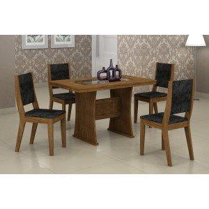 Conjunto Sala de Jantar Mesa Tampo Vidro/MDF 120cm Viva 4 Cadeiras Ísis Rufato Ypê/Penna Preto
