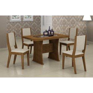 Conjunto Sala de Jantar Mesa Tampo Vidro/MDF 120cm Viva 4 Cadeiras Ísis Rufato Ypê/Veludo Creme