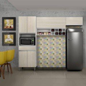 Cozinha Compacta 3 Peças com Nicho Adega Carrara Sallêto Móveis Branco/Casa Blanca