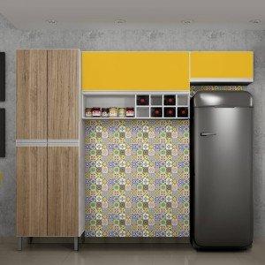 Cozinha Compacta 3 Peças Nicho Adega Florença Sallêto Móveis Branco/Casa Blanca/Maracujá 2