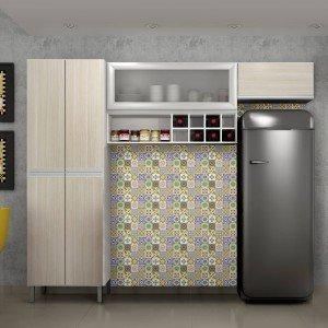 Cozinha Compacta 3 Peças Nicho Adega e Vidro Florença Sallêto Móveis Branco/Casa Blanca/Prata