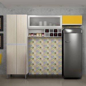 Cozinha Compacta 3 Peças Nicho Adega e Vidro Florença Sallêto Móveis Branco/Casa Blanca/Maracujá/Prata