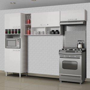 Cozinha Compacta 3 Peças com Paneleiro Adega Ágatha Sallêto Móveis Branco
