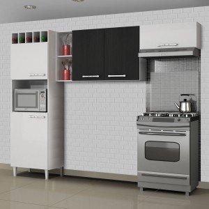 Cozinha Compacta 3 Peças com Paneleiro Adega Opala Sallêto Móveis Branco/Preto