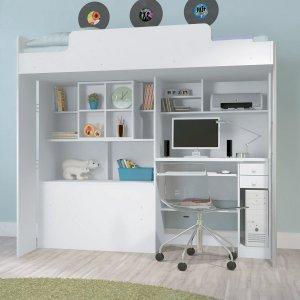 Cama Infantil Alta com Escrivaninha inferior Office Santos Andirá Branco / Branco