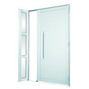 Porta de Alumínio com Seteira e Puxador Alumifort Sasazaki 216cmx120cm Branco