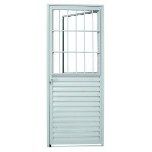 Porta de Alumínio Social com Postigo Aluminium 215cmx3,7cmx87,45cm Branco
