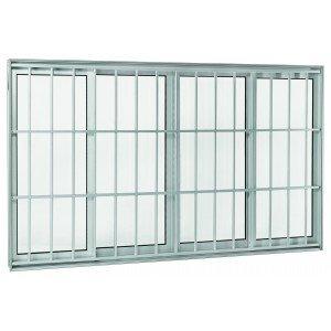 Janela de Correr Alumínio 4 Folhas com Grade sem Bandeira Projetante Aluminium Sasazaki 100cmx150cm Branco