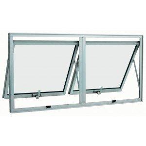 Janela Maxim Ar Alumínio 2 Folhas Duplo Horizontal Sasazaki 60cmx120cmx4,7cm Branco