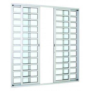 Porta de Correr Alumínio Alumifort Sasazaki com Divisão Horizontal 4 Folhas 216cmx200cmx8,7cm Branco