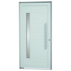 Kit Porta Pivotante com Vidro Alumínio 216cm x 100cm Sasazaki Branco
