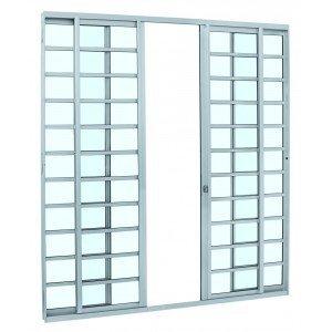 Porta de Correr Alumínio 4 Folhas Alumifit Sasazaki 216cmx200cmx6,6cm Branco