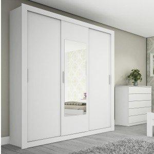 Guarda Roupa Casal com Espelho 3 Portas Prisma Flex Color Tcil Móveis Branco/Preto