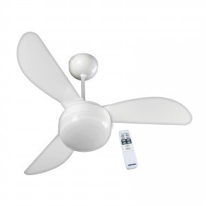 Ventilador de Teto 3 Pás com Controle e Luminária Fênix Ventisol 127V Branco