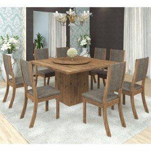 Conjunto para Sala de Jantar Mesa e 8 Cadeiras Viero Lara Avelã/Canela