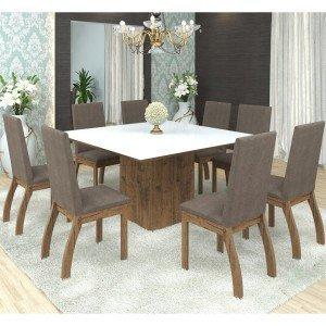 Conjunto Sala de Jantar Mesa Nesty e 8 Cadeiras Slin Lupy Siena Móveis Fendi/Canela
