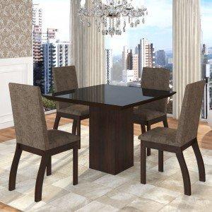 Conjunto Sala de Jantar Mesa em Vidro 4 Cadeiras Boly Siena Móveis Choco/Canela