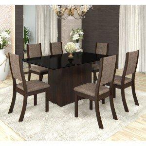 Conjunto Sala de Jantar Mesa em Vidro 6 Cadeiras Drive Siena Móveis Choco/Canela