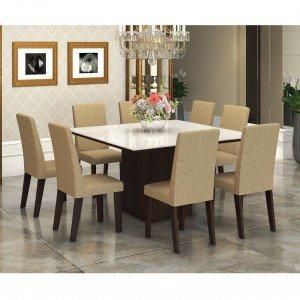 Conjunto Sala de Jantar Mesa Tampo em Vidro Branco 8 Cadeiras Alma Viero Choco/Acácia