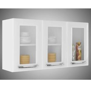 Armário 3 Portas de Vidro Criativa Itatiaia IPV3-105 Branco