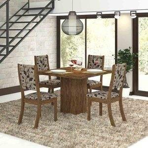 Conjunto para Sala de Jantar Mesa e 4 Cadeiras Viero Dunia Avelã/Medina