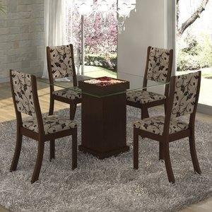 Conjunto para Sala de Jantar Mesa e 4 Cadeiras Viero Iris Choco/Medina