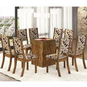 Conjunto para Sala de Jantar Mesa e 8 Cadeiras Amora Siena Móveis Avelã/Trigo